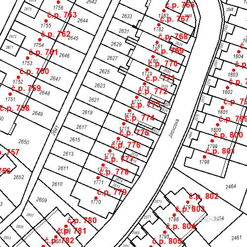 Katastrální mapa Stavební objekt Kohoutovice 774, Brno