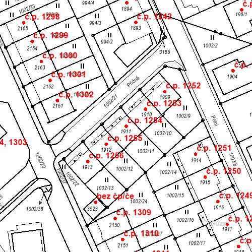 Katastrální mapa Stavební objekt Ústí nad Orlicí 1254, Ústí nad Orlicí