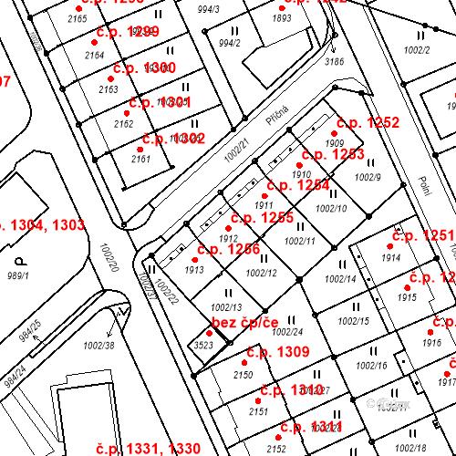 Katastrální mapa Stavební objekt Ústí nad Orlicí 1255, Ústí nad Orlicí