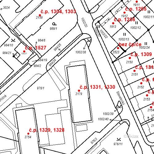 Katastrální mapa Stavební objekt Ústí nad Orlicí 1330, 1331, Ústí nad Orlicí