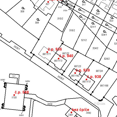 Katastrální mapa Stavební objekt Kohoutovice 940, Brno
