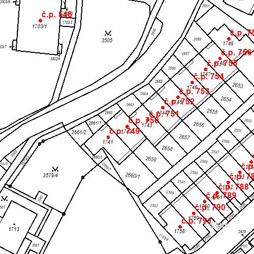 Katastrální mapa Stavební objekt Kohoutovice 750, Brno