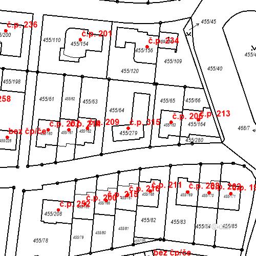 Katastrální mapa Stavební objekt Kníničky 315, Brno