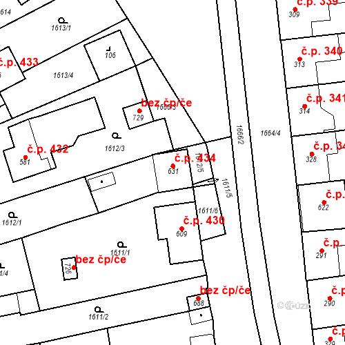 Katastrální mapa Stavební objekt Přibice 434, Přibice