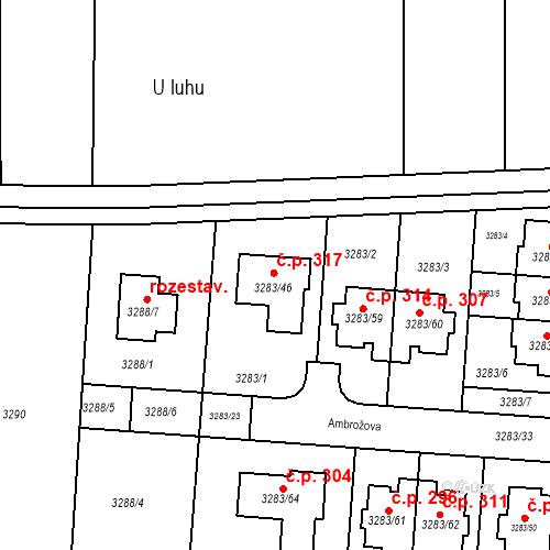 Katastrální mapa Stavební objekt Kníničky 317, Brno