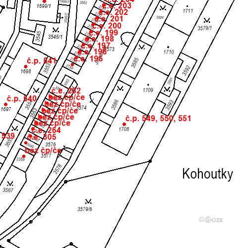 Katastrální mapa Stavební objekt Kohoutovice 549, 550, 551, Brno