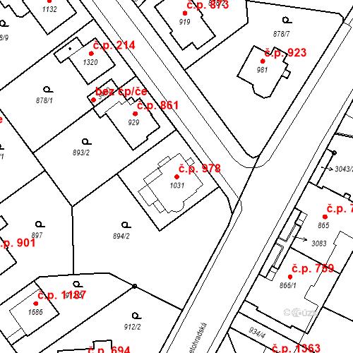 Katastrální mapa Stavební objekt Ústí nad Orlicí 978, Ústí nad Orlicí