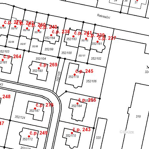 Katastrální mapa Stavební objekt Kníničky 245, Brno