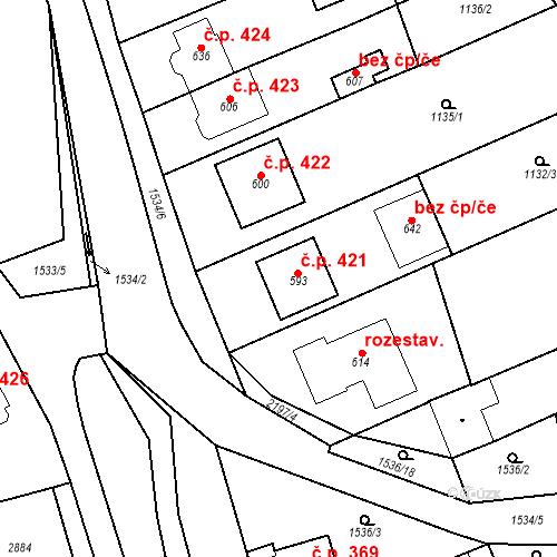 Katastrální mapa Stavební objekt Přibice 421, Přibice
