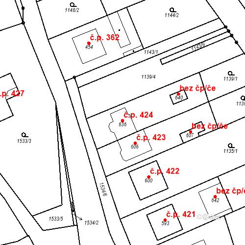 Katastrální mapa Stavební objekt Přibice 424, Přibice