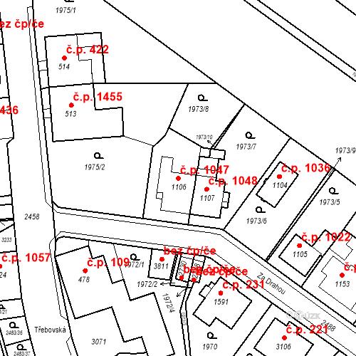 Katastrální mapa Stavební objekt Ústí nad Orlicí 1047, Ústí nad Orlicí