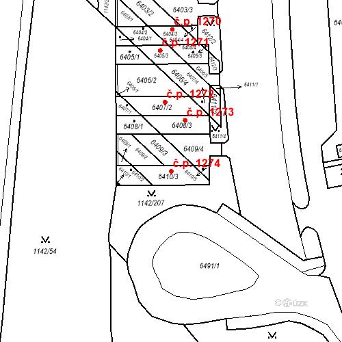 Katastrální mapa Stavební objekt Bystrc 1274, Brno