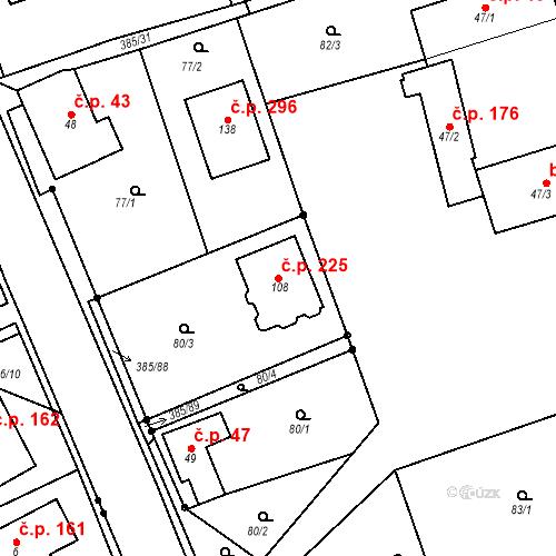 Katastrální mapa Stavební objekt Horní Libchavy 225, Libchavy