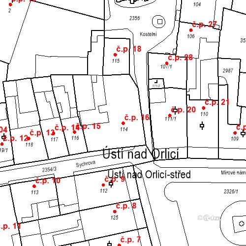 Katastrální mapa Stavební objekt Ústí nad Orlicí 16, Ústí nad Orlicí