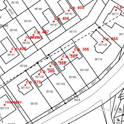 Katastrální mapa Stavební objekt Syrovice 367, Syrovice