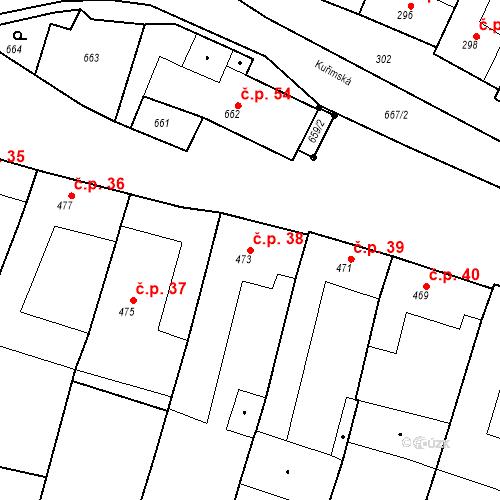 Katastrální mapa Stavební objekt Moravské Knínice 38, Moravské Knínice