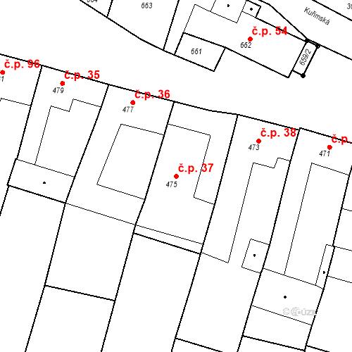 Katastrální mapa Stavební objekt Moravské Knínice 37, Moravské Knínice