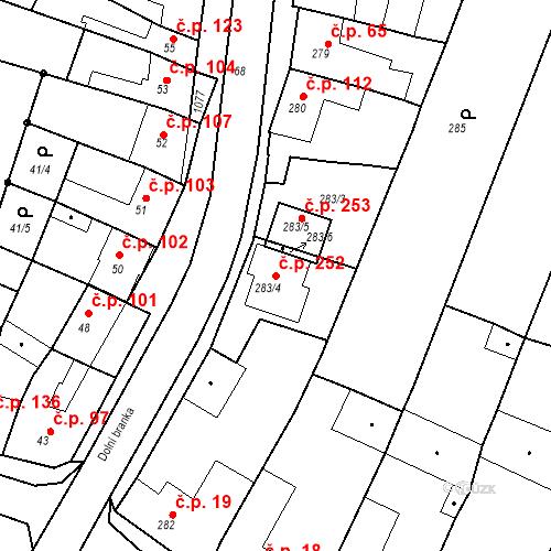 Katastrální mapa Stavební objekt Moravské Knínice 252, Moravské Knínice