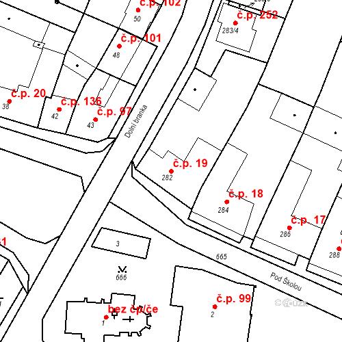 Katastrální mapa Stavební objekt Moravské Knínice 19, Moravské Knínice