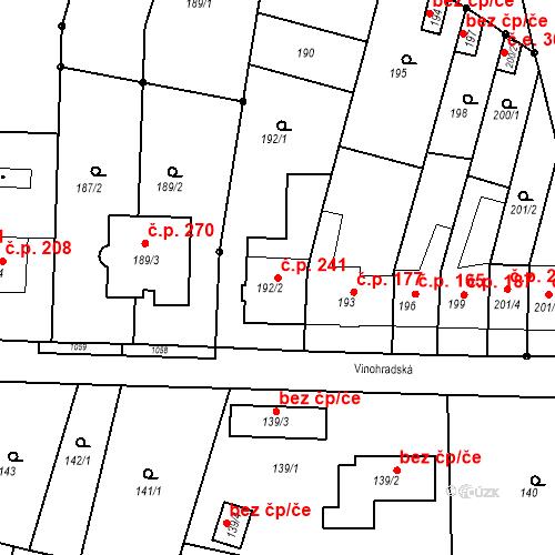 Katastrální mapa Stavební objekt Moravské Knínice 241, Moravské Knínice