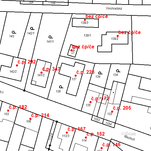 Katastrální mapa Stavební objekt Moravské Knínice 223, Moravské Knínice