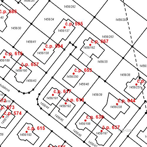 Katastrální mapa Stavební objekt Troubsko 653, Troubsko