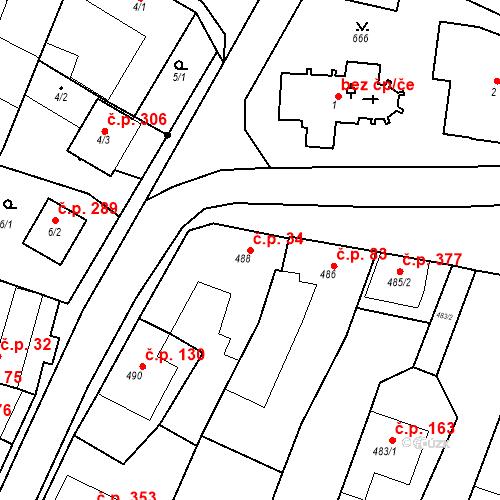 Katastrální mapa Stavební objekt Moravské Knínice 34, Moravské Knínice