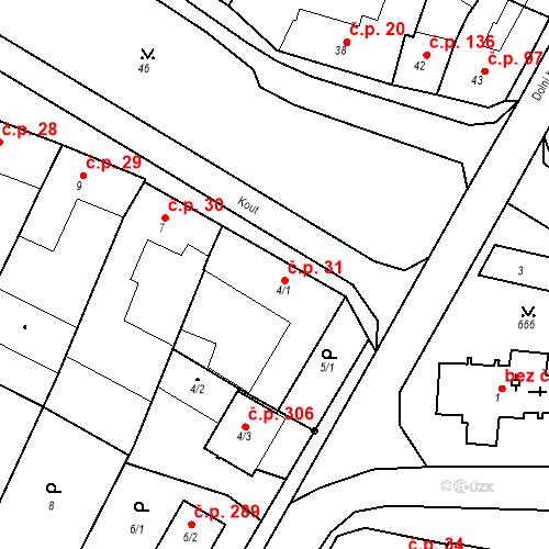 Katastrální mapa Stavební objekt Moravské Knínice 31, Moravské Knínice