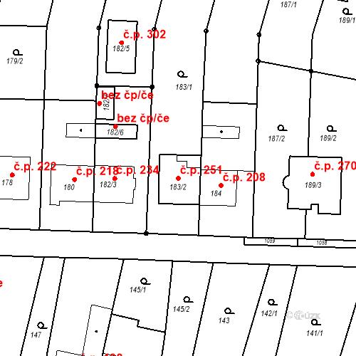 Katastrální mapa Stavební objekt Moravské Knínice 251, Moravské Knínice