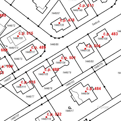 Katastrální mapa Stavební objekt Troubsko 501, Troubsko