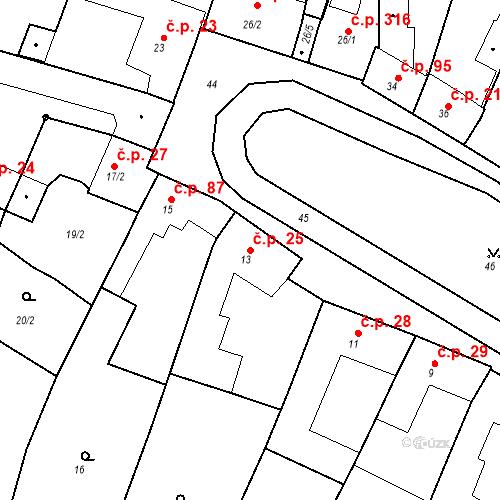 Katastrální mapa Stavební objekt Moravské Knínice 25, Moravské Knínice