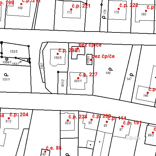 Katastrální mapa Stavební objekt Moravské Knínice 227, Moravské Knínice