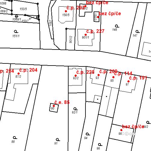 Katastrální mapa Stavební objekt Moravské Knínice 228, Moravské Knínice