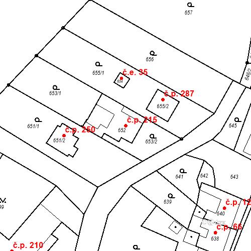 Katastrální mapa Stavební objekt Moravské Knínice 215, Moravské Knínice
