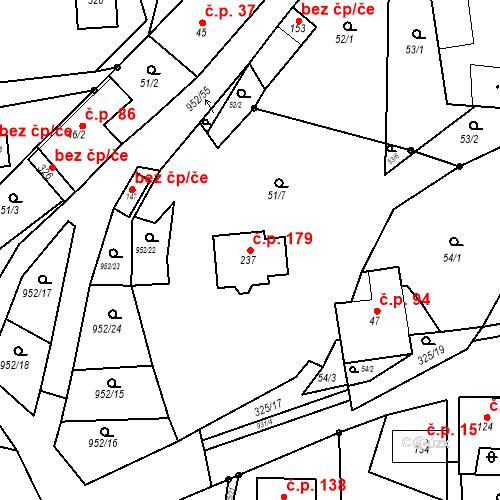 Katastrální mapa Stavební objekt Rozseč nad Kunštátem 179, Rozseč nad Kunštátem