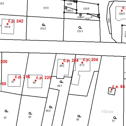Katastrální mapa Stavební objekt Moravské Knínice 254, Moravské Knínice