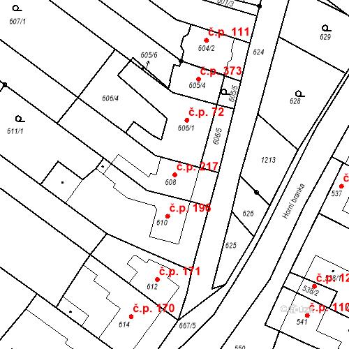 Katastrální mapa Stavební objekt Moravské Knínice 217, Moravské Knínice
