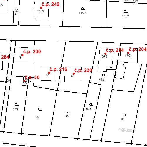 Katastrální mapa Stavební objekt Moravské Knínice 220, Moravské Knínice