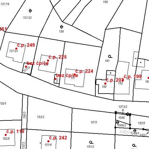 Katastrální mapa Stavební objekt Moravské Knínice 224, Moravské Knínice