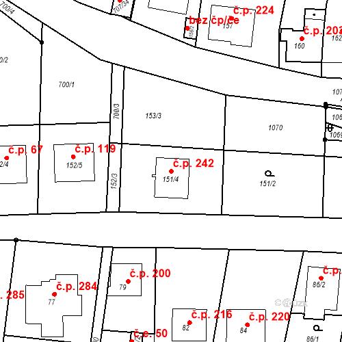 Katastrální mapa Stavební objekt Moravské Knínice 242, Moravské Knínice