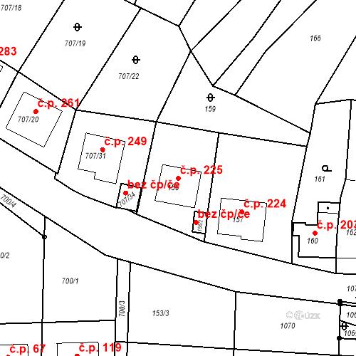 Katastrální mapa Stavební objekt Moravské Knínice 225, Moravské Knínice