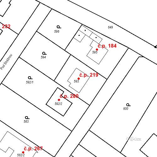 Katastrální mapa Stavební objekt Moravské Knínice 219, Moravské Knínice