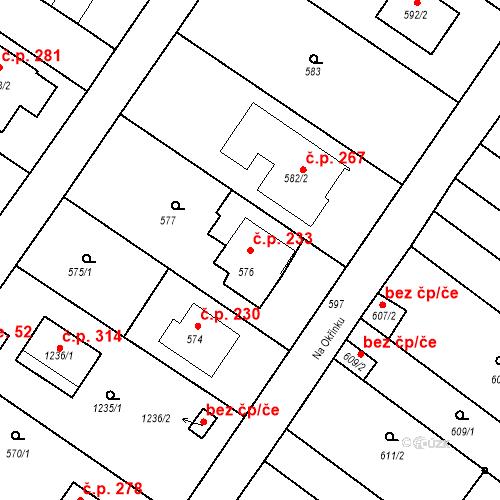 Katastrální mapa Stavební objekt Moravské Knínice 233, Moravské Knínice