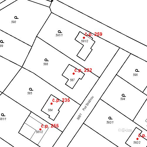 Katastrální mapa Stavební objekt Moravské Knínice 232, Moravské Knínice