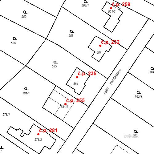 Katastrální mapa Stavební objekt Moravské Knínice 235, Moravské Knínice