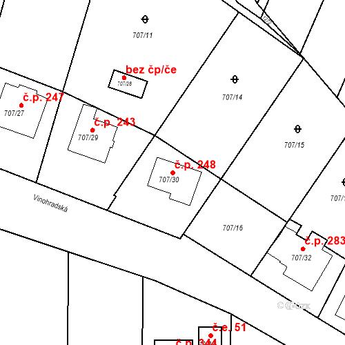 Katastrální mapa Stavební objekt Moravské Knínice 248, Moravské Knínice