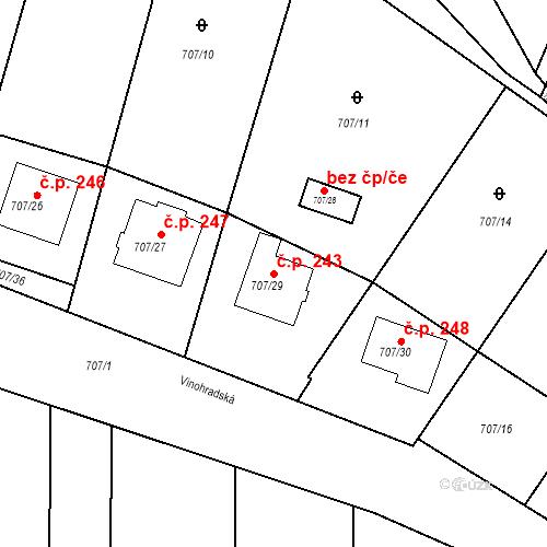 Katastrální mapa Stavební objekt Moravské Knínice 243, Moravské Knínice
