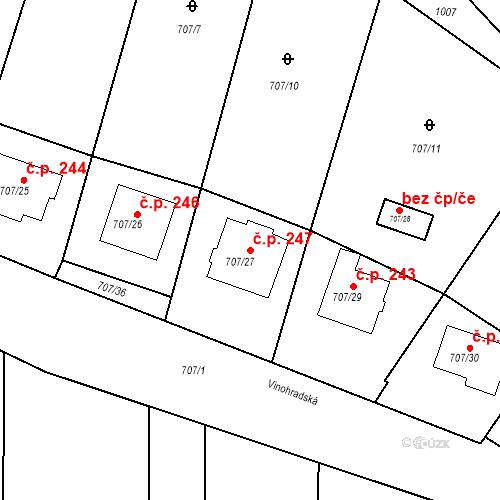 Katastrální mapa Stavební objekt Moravské Knínice 247, Moravské Knínice