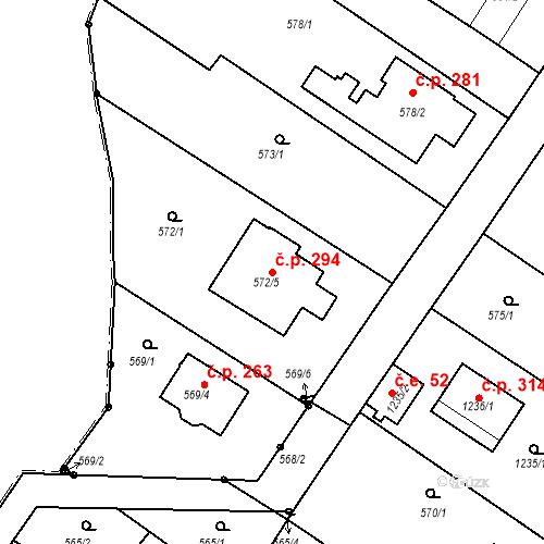 Katastrální mapa Stavební objekt Moravské Knínice 294, Moravské Knínice