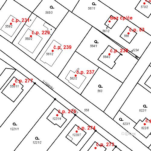 Katastrální mapa Stavební objekt Moravské Knínice 237, Moravské Knínice